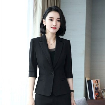 Summer Office Uniform Style 2 Pieces Set Women Half Sleeve Blazer Suits With Mini Skirt Ladies Work Outfit Black Blue Red