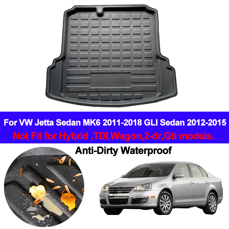 Car Rear Boot Cargo Liner Tray Trunk Luggage Floor Mat Carpets Pad For VW Jetta Sedan 4 dr MK6 2011  2014 2015 2016 2017 2018|  - title=