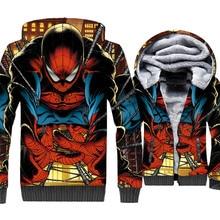 Spiderman Jacket Super Hero Hoodie Men 3D Print Hooded Sweatshirt Winter Thick Fleece Warm Zip up Coat Hip Hop Sportswear Mens цена и фото