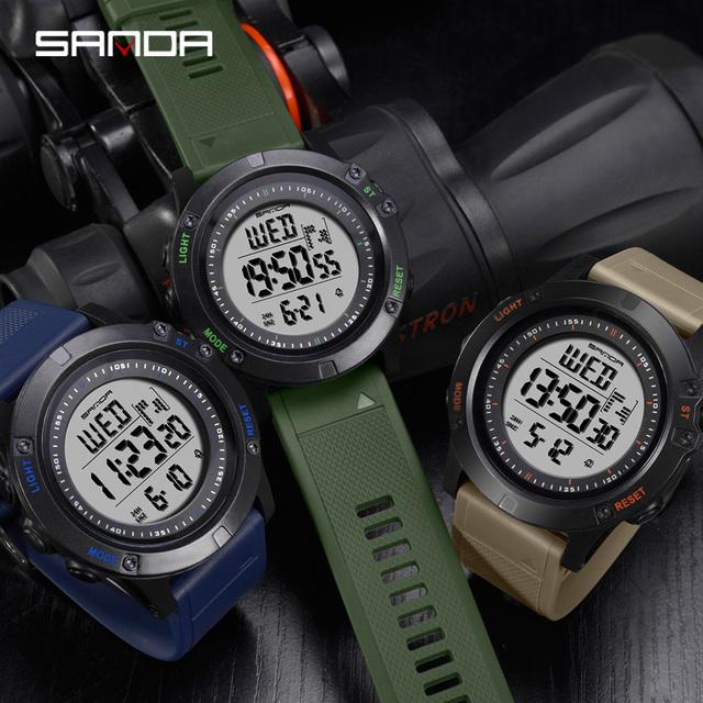 SANDA Sports Men's Watches 3ATM Waterproof S Shock Countdown Digital Watches Male Clock Chronograph Relogio Masculino 372