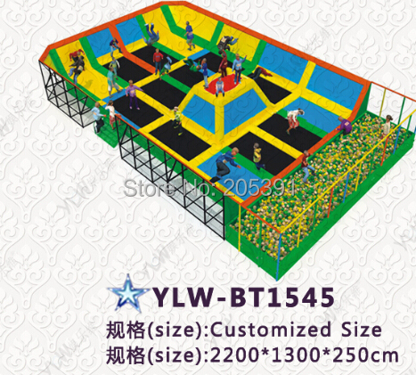 adult amusement fitness trampoline park for children and adults with ball jumping bed