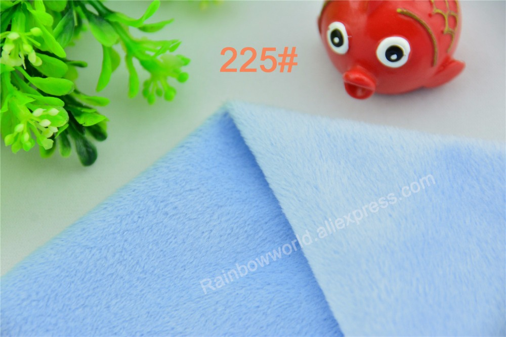 225# light blue Super soft velvet fabric microfiber brushed velboa hair height 2-3mm for DIY toy blanket pillow(1 meter)