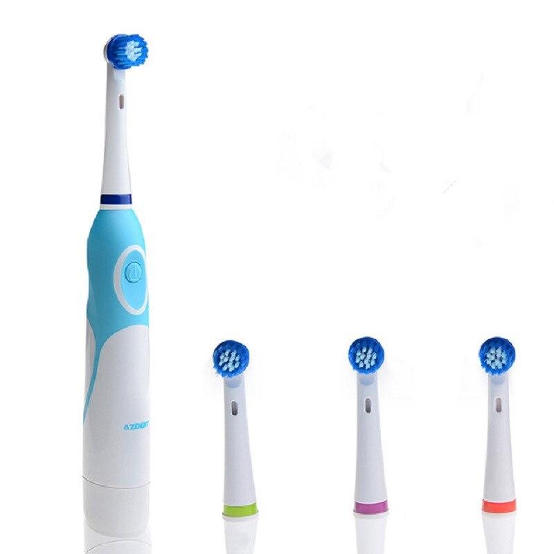 Caliente de cepillo de dientes eléctrico con 4 los jefes de reemplazo de la batería  operado 3fd816900454