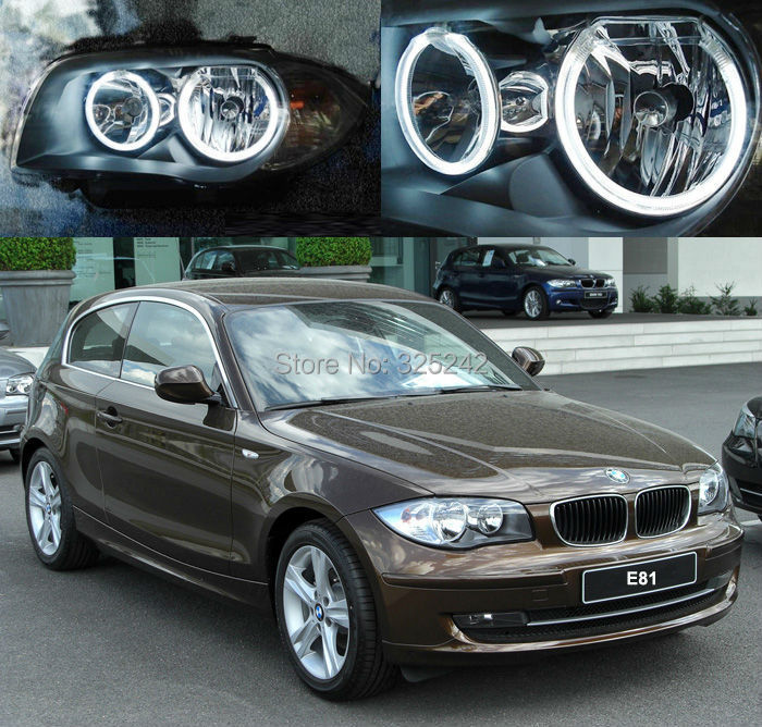 ФОТО For BMW 1 Series E81 Halogen headlight Excellent angel eyes Ultra bright illumination CCFL Angel Eyes kit Halo Ring