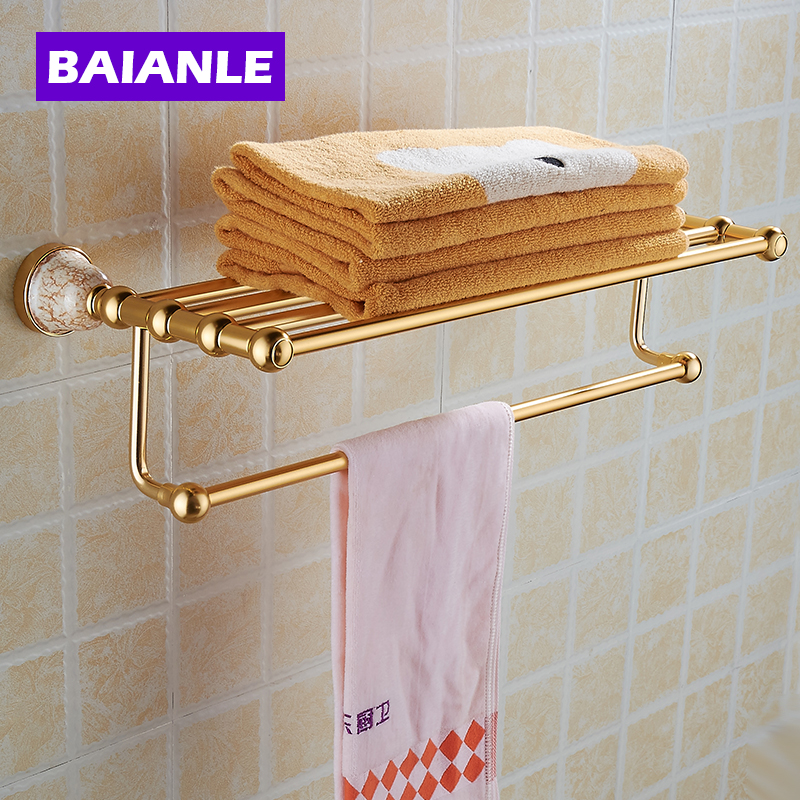 NEW Space Alumnium & Ceramics Made Wall Mounted Bathroom Accessories Double Shelf Towel Rack Holder With Towel Bar free shipping wall mounted space aluminum black golden paper towel shelf phone toilet paper holder