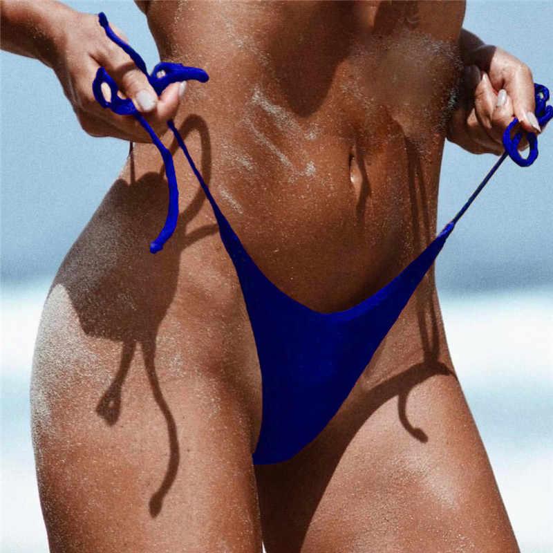 סקסי נשים חוף בגדי ים ברזילאי חצוף ביקיני תחתון צד עניבת Thong בגד ים Fshion קיץ חם מוצק Monokini תחתונים