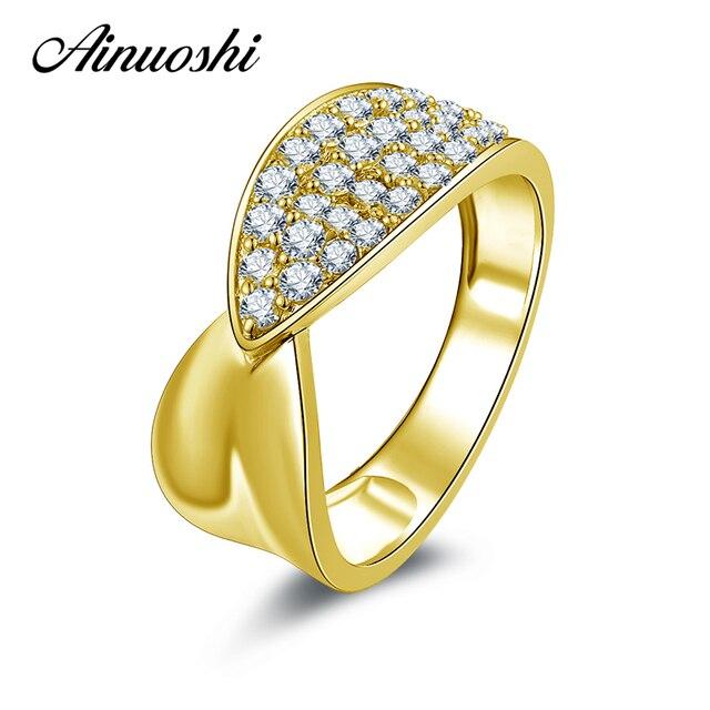 Ainuoshi 10 К твердого желтого золота Для женщин обручальное кольцо SONA NSCD Имитация Ювелирные изделия с алмазами Femme Bijoux Мода Дизайн Обручение кольцо