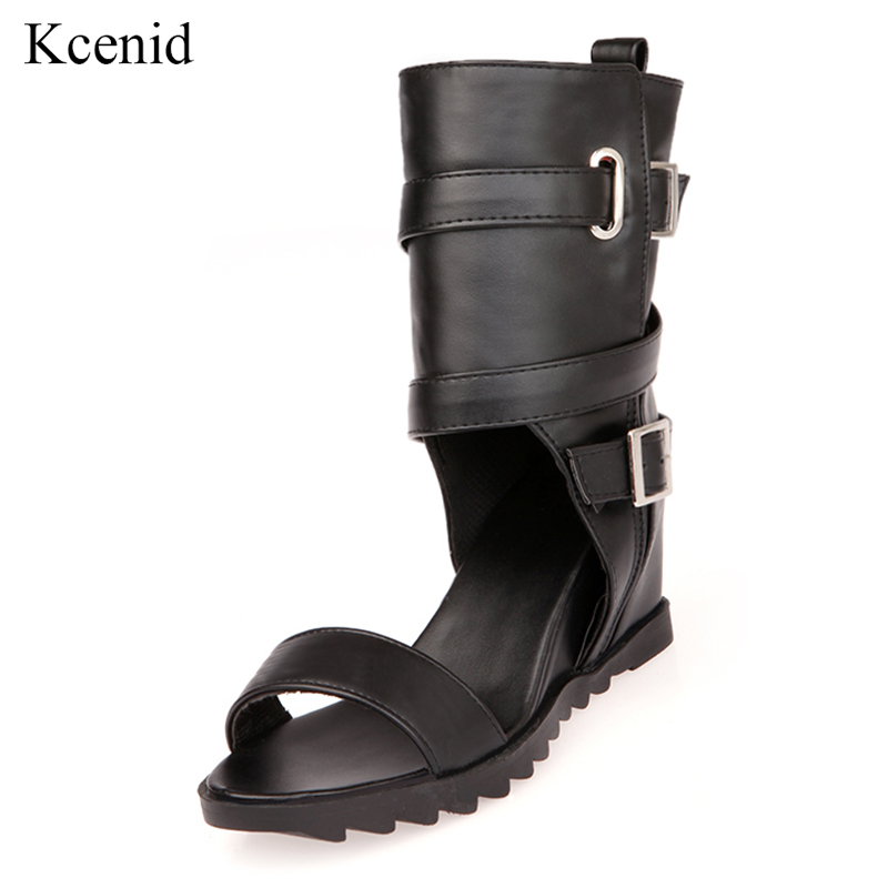 Kcenid 2019 New summer PU leather buckle strap british style hidden heels open toe casual shoes woman gladiator sandal bootsKcenid 2019 New summer PU leather buckle strap british style hidden heels open toe casual shoes woman gladiator sandal boots