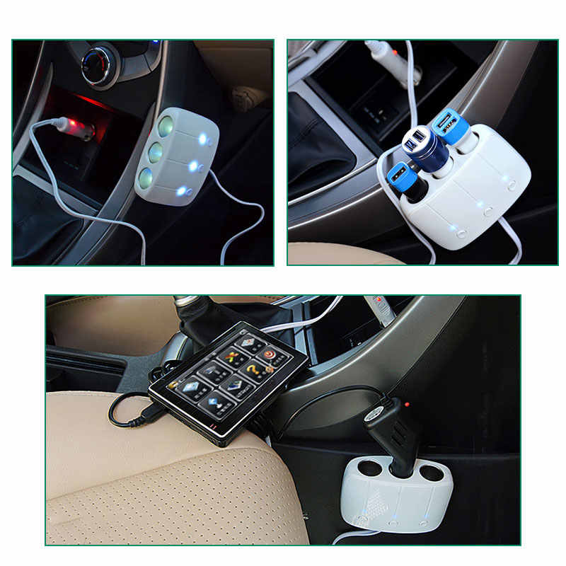 VANJEW C11 ولاعة السجائر 3.1A المزدوج منافذ USB شاحن سيارة 3 مآخذ الفاصل محول الطاقة 82 سنتيمتر سلك 3 مقبس التوصيل 120 واط الطاقة