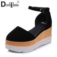 4dbe8d73 DORATASIA diseño de marca de gran tamaño 32-43 plataforma plana correa de tobillo  zapatos mujer casual fiesta retro sandalias de.