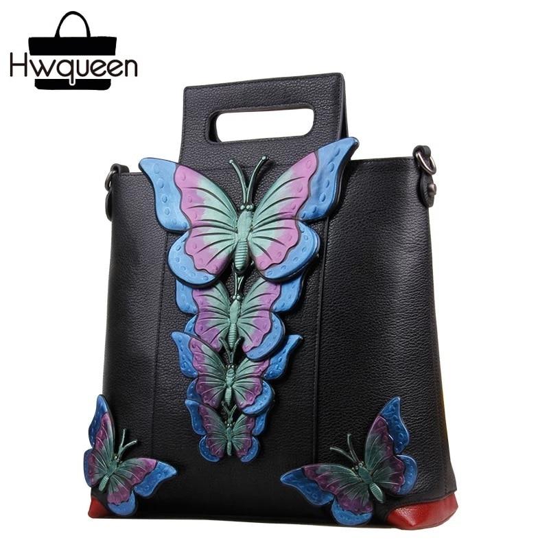 Graceful Butterfly Designer Female Single Cross Shoulder Bag Genuine Leather Three-way Women's Clutch Purse Cowhide Lady Handbag