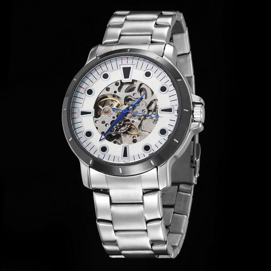 GOER brand Men s Skeleton wrist watches Luminous waterproof Machinery automatic Stainless Steel male sports Watch