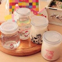 Cartoon Glasses Pudding Bottle Milk Bottle Milk Cup Christmas Cat Cow Pattern Pudding Yogurt Milk Pudding