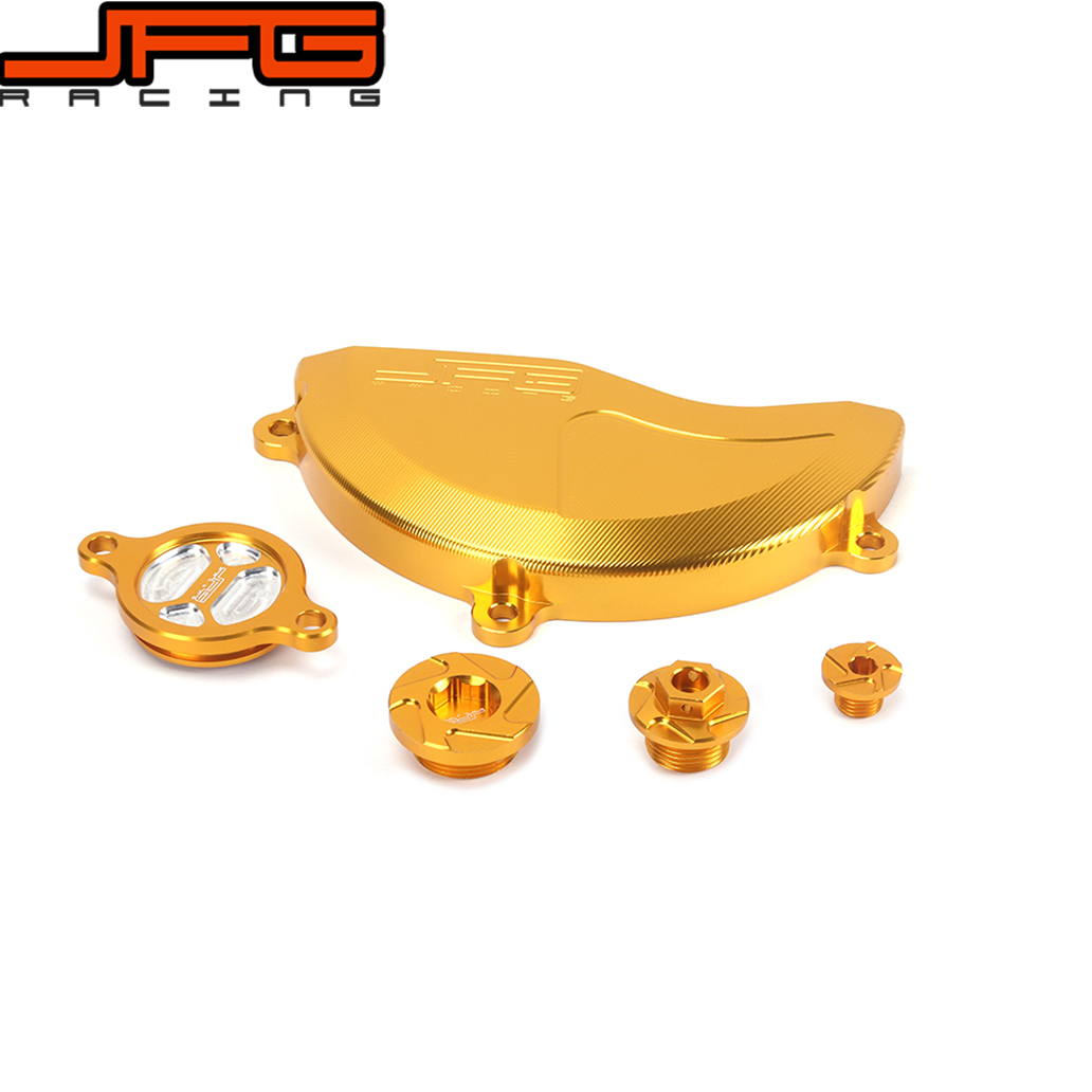 Gold CNC Engine Cover Guard Cap Timing Oil Filter Screw Bolt For RMZ250 10 11 12 13 14 15 16 Dirt Pit Bike motorcycle cnc 6 hole beveled engine side guard derby cover