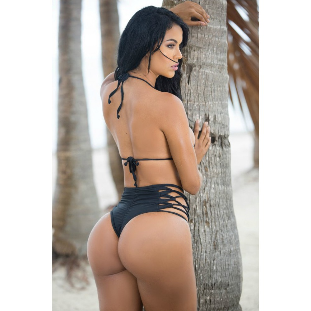 thong bikini plus size swim suit black bandage swimwear high cut