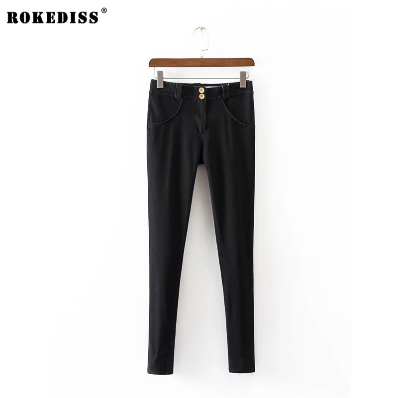 ROKEDISS Jeans woman Of 2017 New Female Pencil Pants Slim Slim Feet Black Jeans Trousers Women Jeans Long Pants X116 winter warm jeans woman 2017 new female pencil pants ladies plus size slim slim feet black jeans trousers women jeans long pants