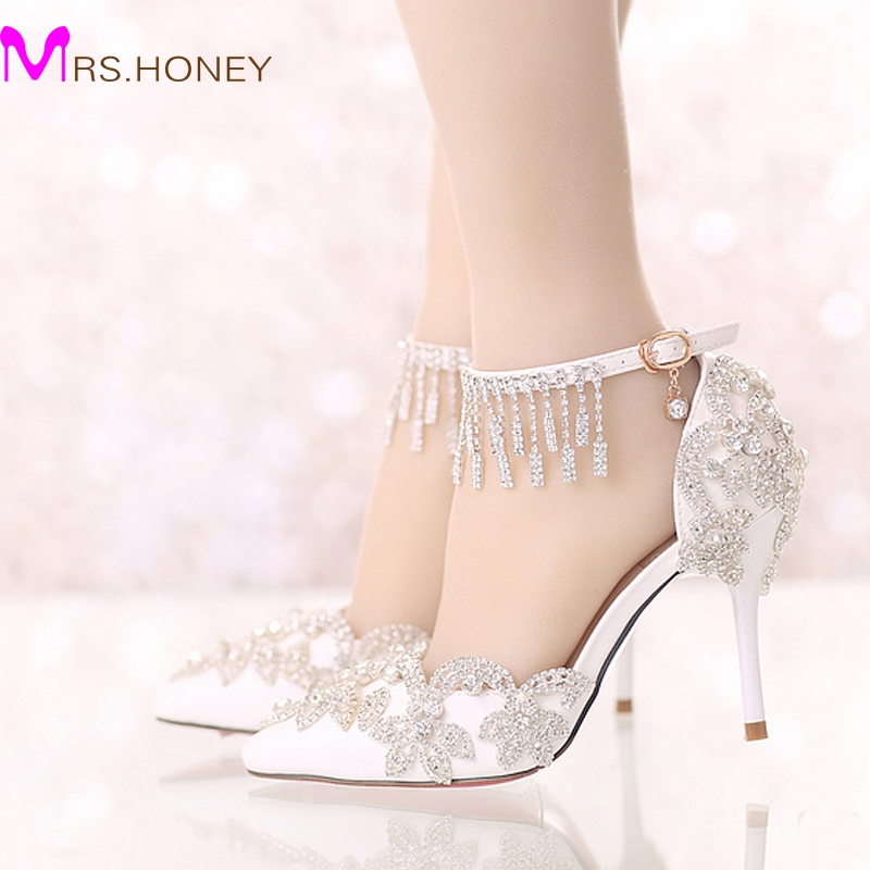 Summer Sandals White Pointed Toe Bridal Wedding Party Shoes Crystal High Heel Bride Dress Shoes with Rhinestone Ankle Straps pointed toe high heels for wedding party rhinestone covered bridal dress shoes stiletto heel banquet pumps white pink red color