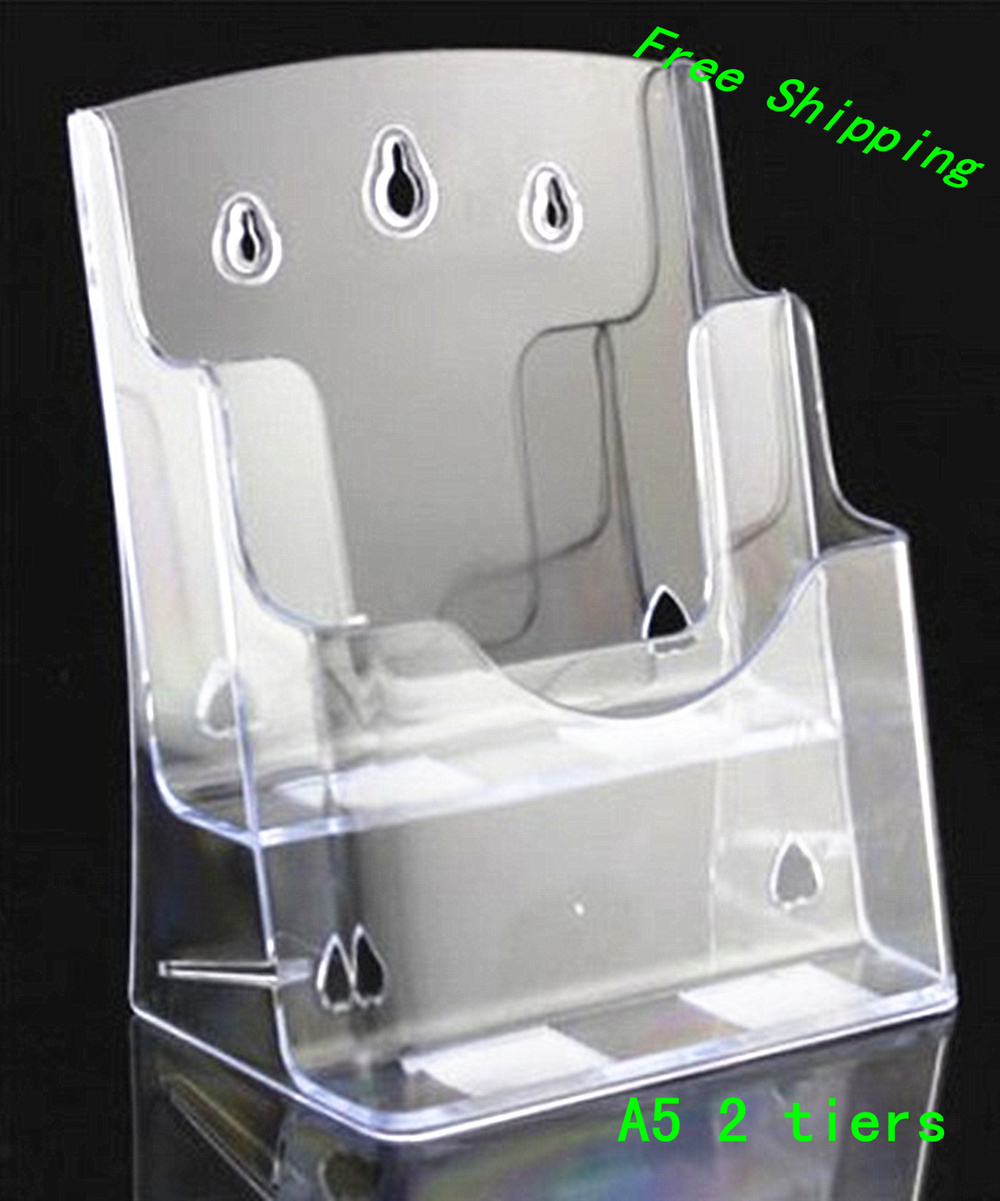 Clear 4pcs a5 2 tiers pocket plastic brochure literature for Plastic flyer stand