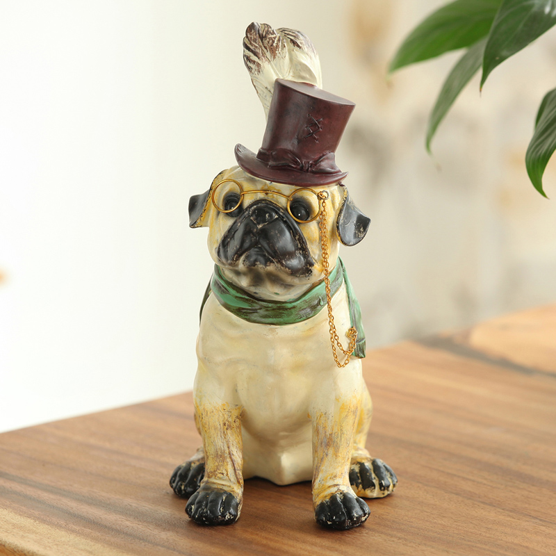 Cute Wear Hat Glasses Dog Creative Personality French Bulldog Dog Resin Dog Ornaments Figurine Statue Artificial Best Gift