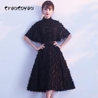 Treutoyeu 2018 Black Dress Women Clothes Summer Sweet Party Evening A Line Dresses New Design Solid Turtleneck Dress D053