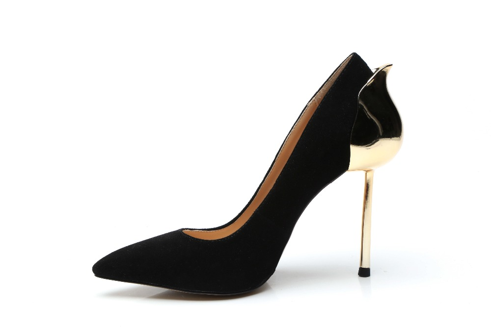 Real Photo Black Sheepskin Leather High Heels Pumps Women Pointed Toe Shoes Metal Gold Cone Heel Shallow Party Dress Shoes недорго, оригинальная цена