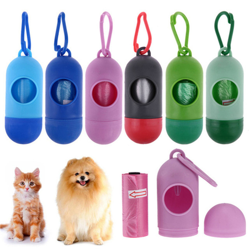 Pill Bone Shape Pet Dog Poop Bag Dispenser Waste Garbage Bags Carrier Holder Dispenser + Poop Bags Set Pet Dog Waste Poop Bag