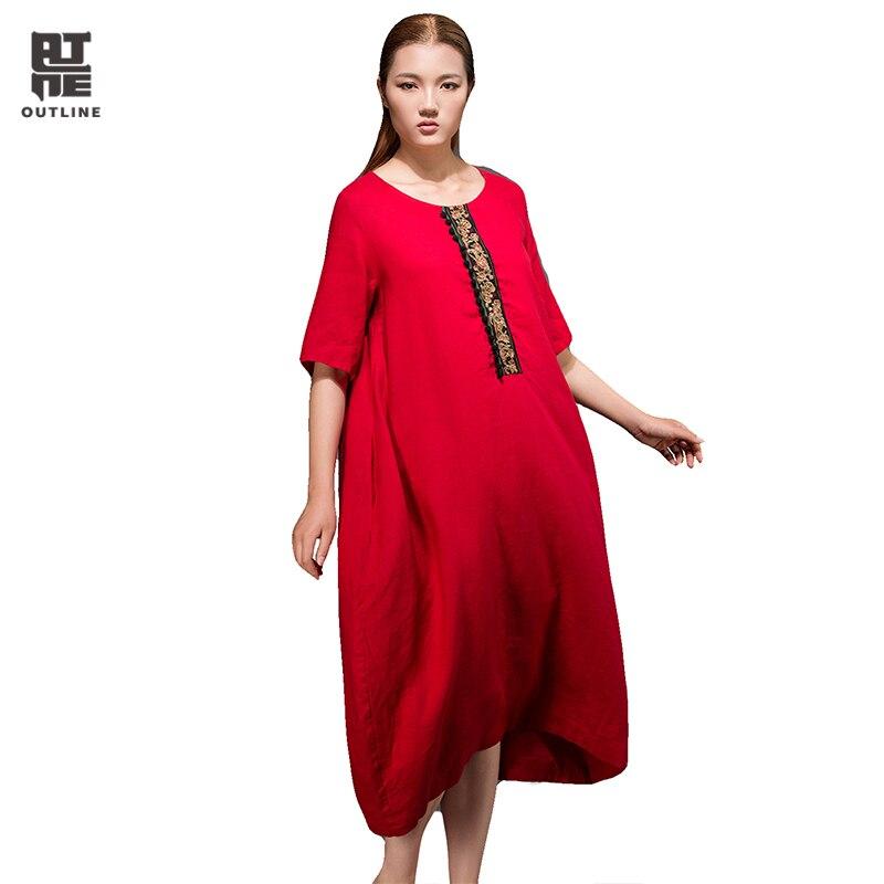 Outline Summer Unique Style Natural 100 linen dresses O-Neck Dress Original Brand Clothing Woman Plus Size Dresses L152Y004