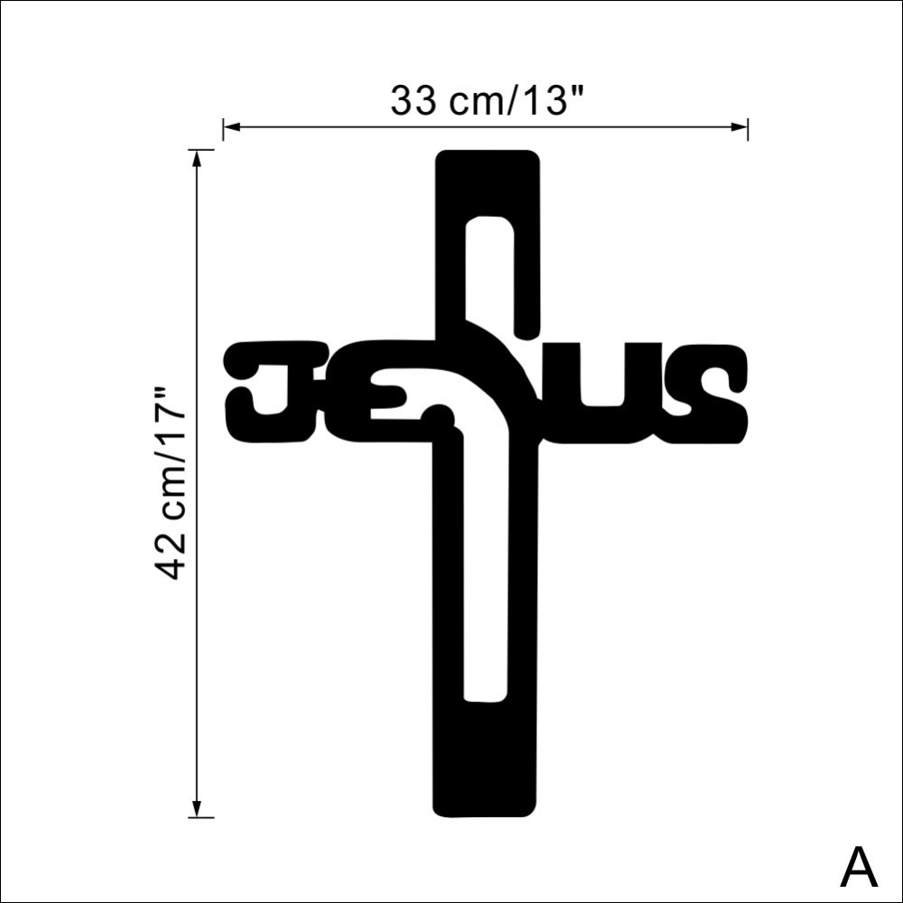 US $6 82 Black Christian Jesus Cross Vinyl Wall Sticker Decals Wallpaper For Bedroom Living Room Home Decor JG015 Wallpapers For Vinyl Wallvinyl Wall