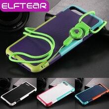 Elftear шнуры, шнурки телефон ремешок чехол с карт памяти для iPhone 7 плюс резиновая броня слайд телефон задняя крышка Fundas Капа