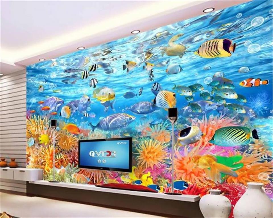 Custom Size 3d Photo Wallpaper Living Room Mural Fish
