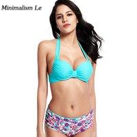 Minimalism Le 2018 New Sexy Bikinis Solid Top Women Swimwear Print Bottom Swimsuit High Waist Biquini