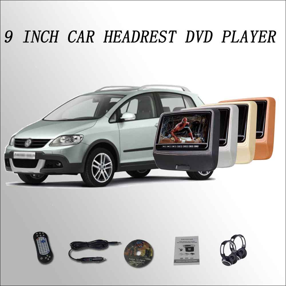 BigBigRoad For Crossgolf Car Headrest Monitor digital LCD screen 2*9 DVD player with USB / SD / IR / FM SPEAKER GAME HDMI