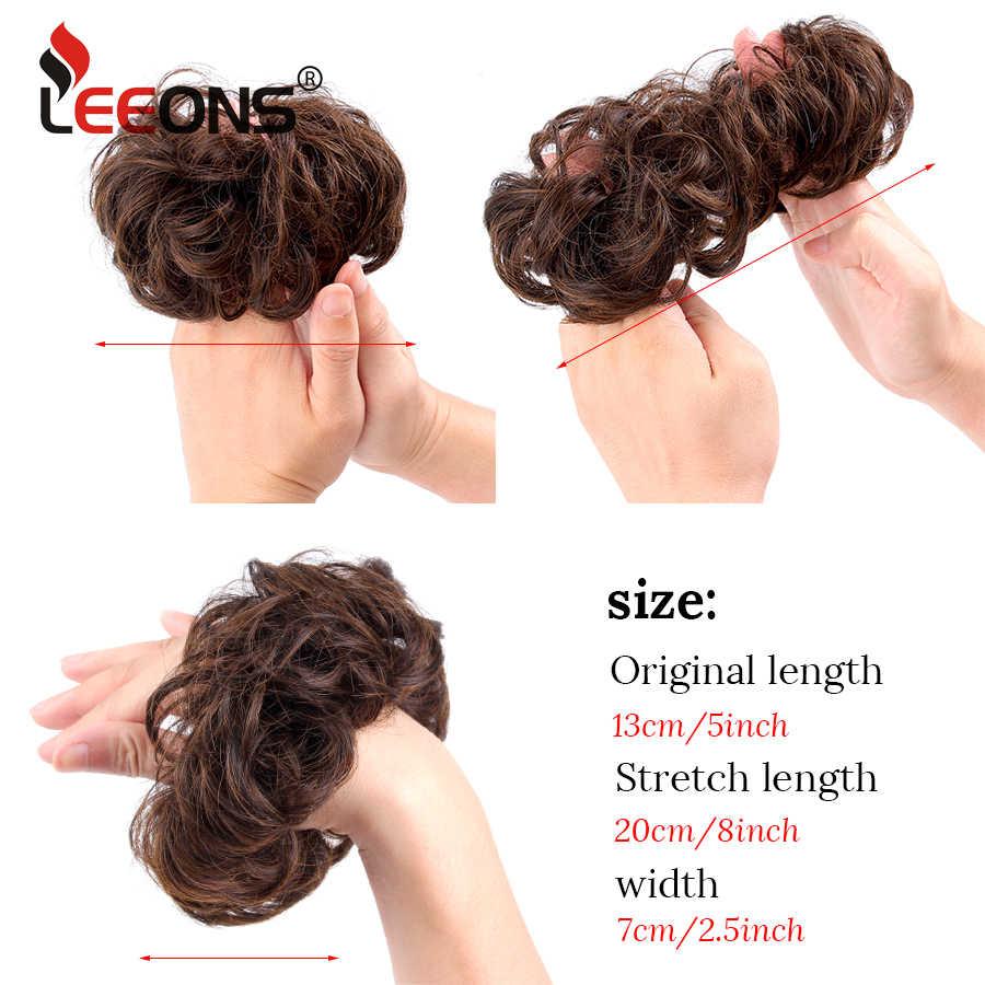 da8b3a9dc8 ... Leeons Black Brown 10 Colors Fake Hair Extension Curly Hair Pony Tail  Bride Bun Hairpiece Scrunchie ...
