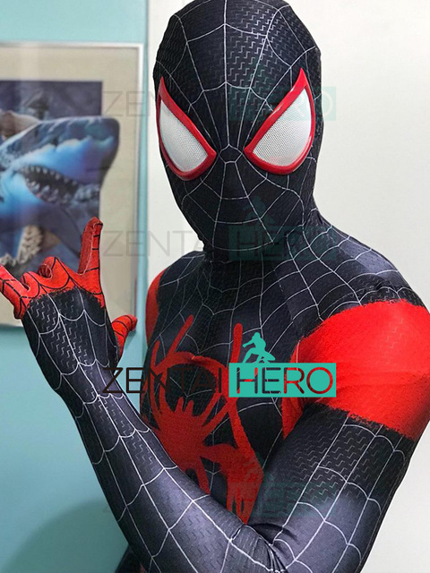 2018 NEW Black Red Miles Morales Spider man Costume 3D Printing Miles Animated Version Spiderman Costumes
