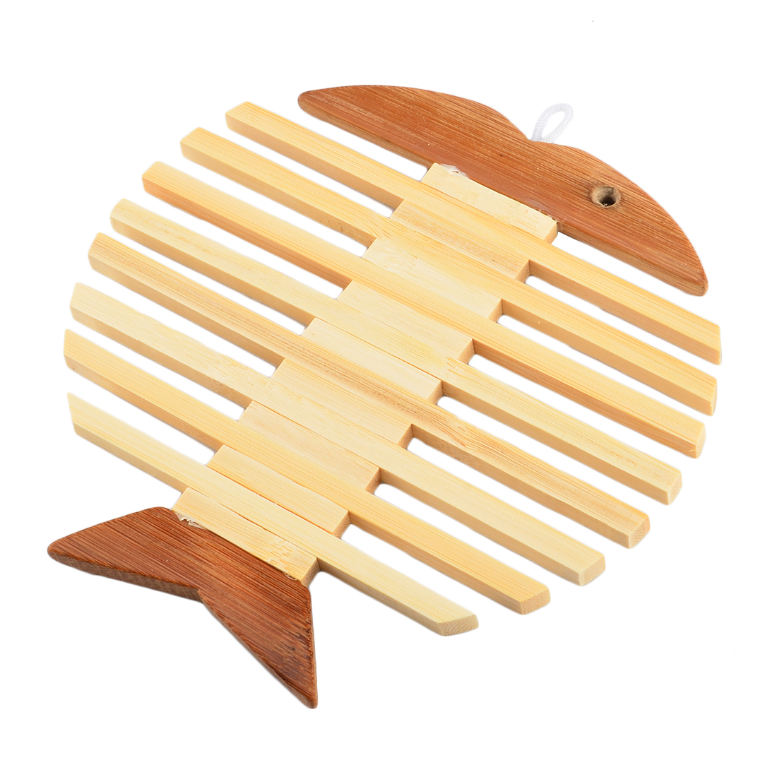Bamboo Tablemat Fish Shape Heat Resistant Insulation Pad Placemat Pot  Coaster  Burlywood(china (