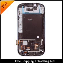 Free Shipping Tracking No. 100% tested For Samsung S3 i9305 LCD Display  s3 LCD Screen Touch Digitizer Assembly with frame