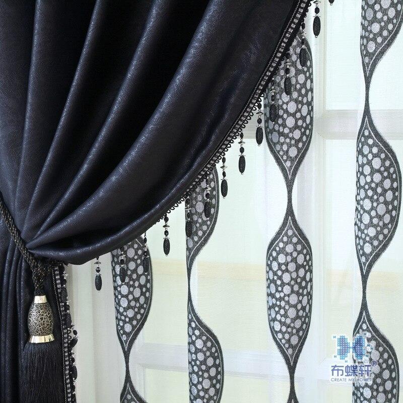 Noir vert en relief Rideaux pour Salon salle à manger chambre ...