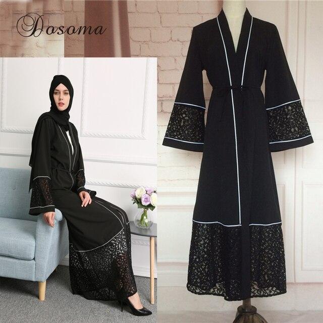 450adc95a Muslim Abaya Lace Cardigan Robes Vestido Black Style Maxi Dress Women Arab  Turkish Worship Islamic Dubai Turkey Instant Hijab 06