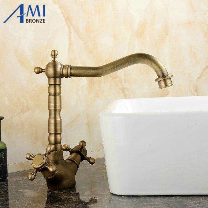 Antique Brass Swivel Kitchen Faucets Bathroom Basin Sink Faucet Crane Mixer Tap 9055A