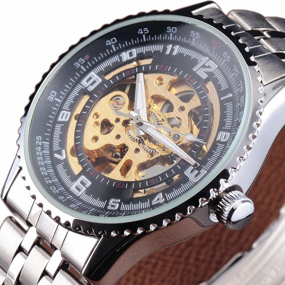 SHENHUA Mens Skeleton Watch Stainless Steel Automatic Mechanical Watches Men Gear Case Steampunk Military Clock Gift otoky unique luxury mens steampunk skeleton stainless steel automatic mechanical wrist watch f30