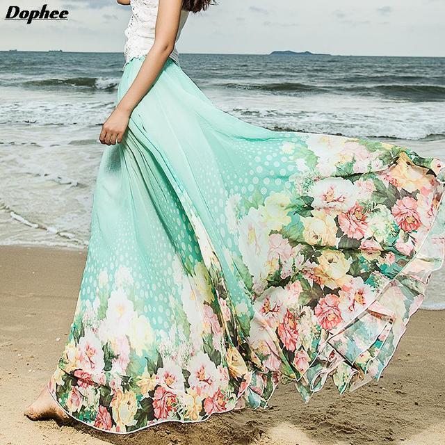 Por Encargo de la Mujer Elástica Cintura Falda De Verano de La Alta Cintura Gasa de La Impresión Floral Para Mujer Faldas Maxi Long Beach Skrit