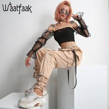 Waataak Elatic High Waist Harem Pants Women Cloth Chain Buckle Pantalon Khaki Pocket Long Casual korean pants Pencil Autumn 2018