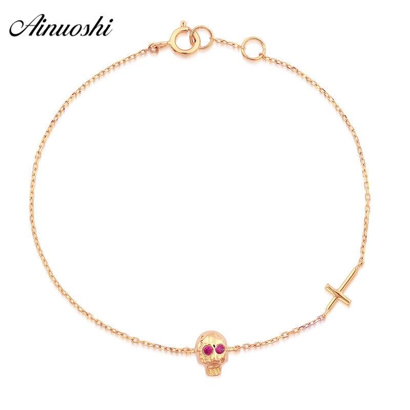 AINUOSHI 18K Real Pure Gold Skull Skeleton Bracelet Natural Ruby Eyes Jesus Christian Cross Rock Bracelet Link Chain Bracelet цена 2017
