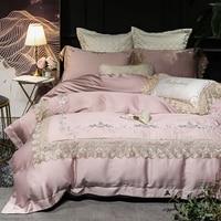 Luxury Blue sky silk Bedding set Golden Embroidered Super King Queen size Bed sheet set Duvet cover Bedding sets