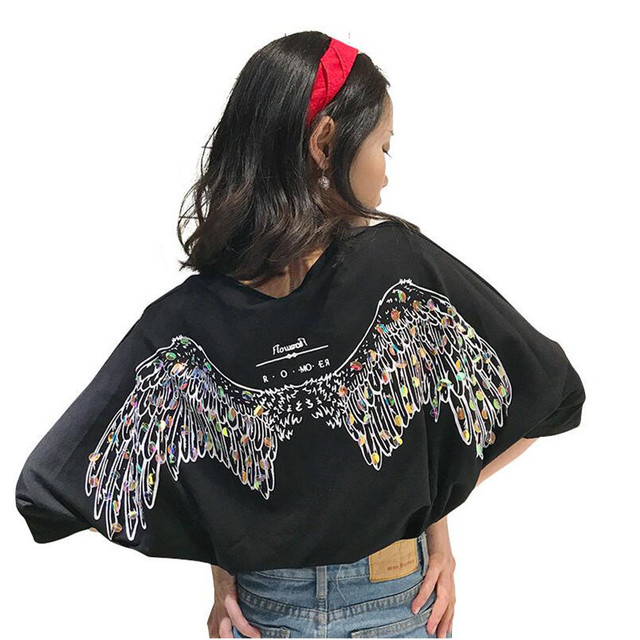 2017 New Women Baggy Bf Style Sequins Angel Wing Oversized Matching T-Shirt  Top Tee d51f687a33aa