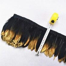 Black Ribbon-Trim Spray Crafts Wedding-Accessories Goose Diy Gold Carnival Plumas 2meters