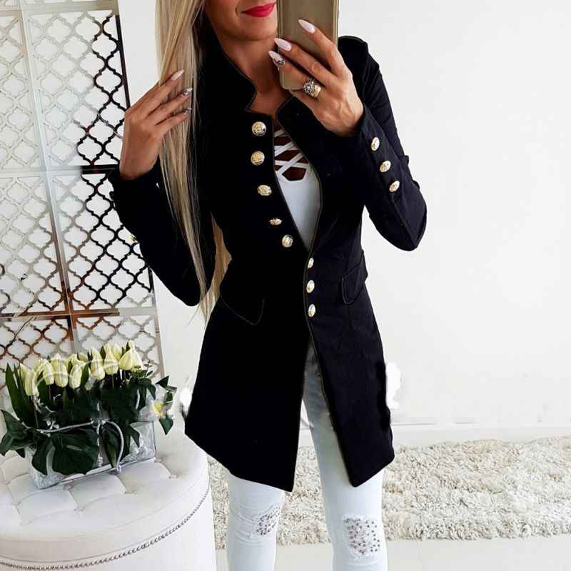 f5442dc88 New Women Fashion Runway Style Women\'s Gold Buttons Single Breasted Blazer  Solid Outerwear