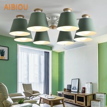AIBIOU LED Chandelier With Matel Lampshades For Living Room Modern Ceiling Mounted E27 Chandeliers Dining Lighting Fixtures loft chandeliers black gold bar stair dining living room glass lindsey adelman e27 holders ceiling chandelier lighting fixtures