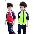 New 2016 School Uniform for Boys Brand Design 3-16T Boys Autumn/Winter Sports Clothing Set Kids Zipper Baseball Tracksuit, C261
