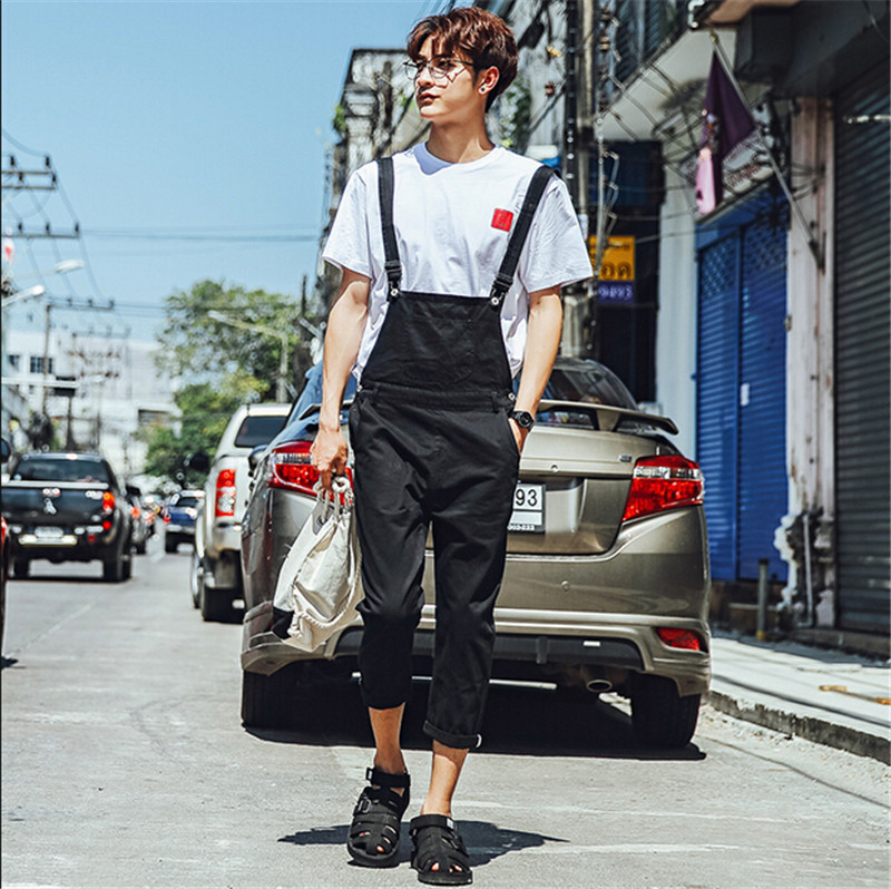 a4f33f2d920b Fashion Mens Bib Overalls Denim Jeans Pants Jumpsuits Mens Slim Fit cotton  Black Moto Baggy Jeans
